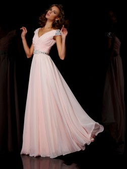 A-Line/Princess V-neck Short Sleeves Ruffles Floor-Length Chiffon Dresses