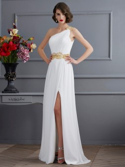 A-Line/Princess One-Shoulder Sleeveless Ruched Sweep/Brush Train Chiffon Dresses