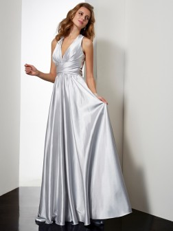 Sheath/Column Halter Sleeveless Pleats Floor-Length Elastic Woven Satin Dresses
