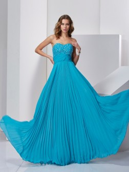 A-Line/Princess Sleeveless Sweetheart Sweep/Brush Train Beading Chiffon Dresses