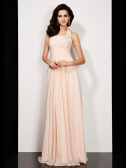 A-Line/Princess Halter Sleeveless Pleats Floor-Length Chiffon Dresses