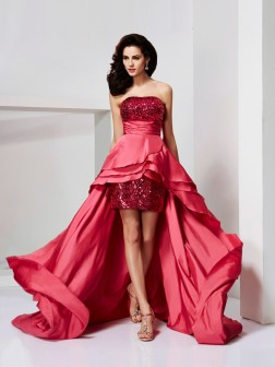 A-Line/Princess Strapless Sleeveless Lace Asymmetrical Taffeta Dresses