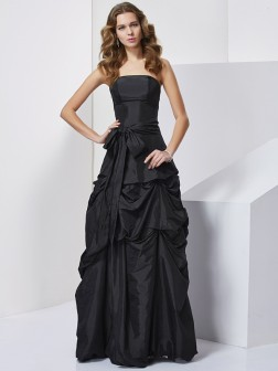 Sheath/Column Strapless Sleeveless Bowknot Floor-Length Taffeta Dresses