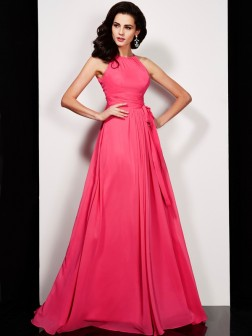 A-Line/Princess High Neck Sleeveless Sash/Ribbon/Belt Floor-Length Chiffon Dresses