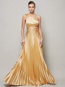 A-Line/Princess One-Shoulder Sleeveless Hand-Made Flower Floor-Length Elastic Woven Satin Dresses