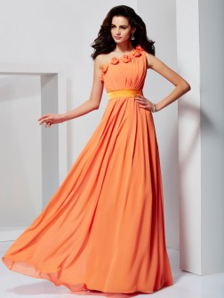 A-Line/Princess One-Shoulder Sleeveless Hand-Made Flower Floor-Length Chiffon Dresses