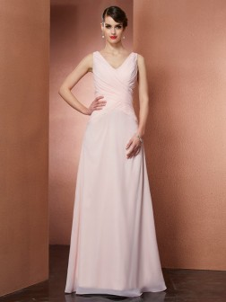 A-Line/Princess V-neck Sleeveless Pleats Floor-Length Chiffon Dresses