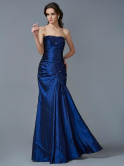 Trumpet/Mermaid Strapless Sleeveless Applique Floor-Length Taffeta Dresses