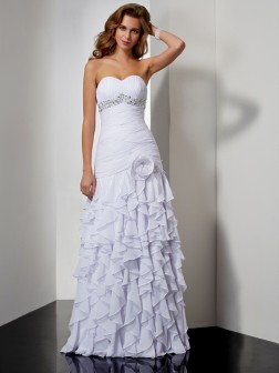 A-Line/Princess Sweetheart Sleeveless Beading Ruffles Floor-Length Chiffon Dresses