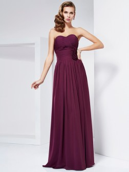 Sheath/Column Sweetheart Sleeveless Hand-Made Flower Floor-Length Chiffon Dresses