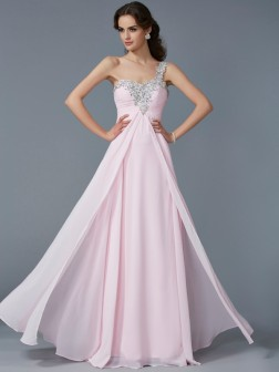 A-Line/Princess One-Shoulder Applique Sleeveless Beading Floor-Length Chiffon Dresses
