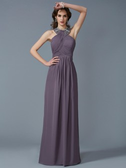 Sheath/Column High Neck Sleeveless Beading Floor-Length Chiffon Dresses