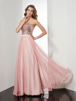 A-Line/Princess Strapless Sleeveless Paillette Floor-Length Chiffon Dresses