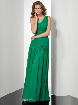 A-Line/Princess One-Shoulder Sleeveless Pleats Floor-Length Chiffon Dresses