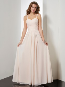 Sheath/Column Spaghetti Straps Sleeveless Ruffles Floor-Length Chiffon Dresses