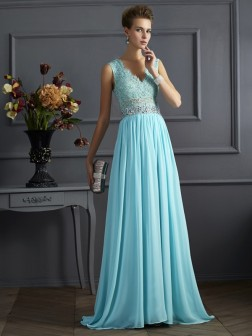 A-Line/Princess Straps Sleeveless Beading Lace Sweep/Brush Train Chiffon Dresses