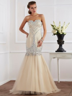 Sheath/Column Sweetheart Sleeveless Beading Sweep/Brush Train Satin Dresses
