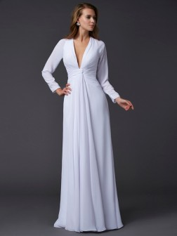 Sheath/Column V-neck Long Sleeves Ruched Floor-Length Chiffon Dresses