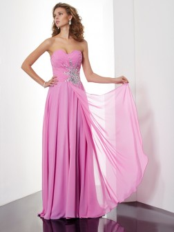 A-Line/Princess Sweetheart Sleeveless Ruched Floor-Length Chiffon Dresses