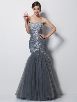 Trumpet/Mermaid Sweetheart Sleeveless Beading Floor-Length Net Dresses