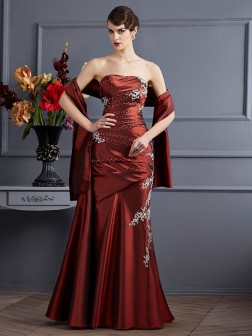 Sheath/Column Strapless Sleeveless Beading Floor-Length Taffeta Dresses