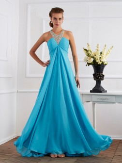 Empire Halter Sleeveless Beading Floor-Length Chiffon Dresses