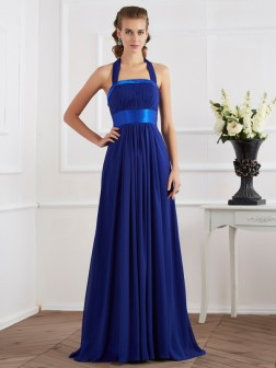 A-Line/Princess Halter Sleeveless Ruched Floor-Length Chiffon Dresses