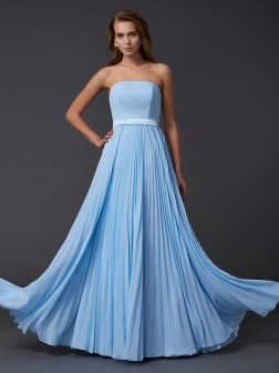 A-Line/Princess Strapless Sleeveless Ruched Floor-Length Chiffon Dresses