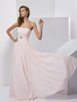 A-Line/Princess Strapless Sleeveless Floor-Length Chiffon Dresses