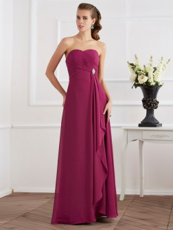 Sheath/Column Sweetheart Sleeveless Floor-Length Chiffon Dresses