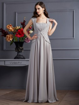 A-Line/Princess Square Sleeveless Beading Floor-Length Chiffon Dresses
