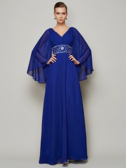 A-Line/Princess V-neck Long Sleeves Beading Floor-Length Chiffon Dresses