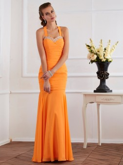 Trumpet/Mermaid Halter Sleeveless Beading Floor-Length Chiffon Dresses