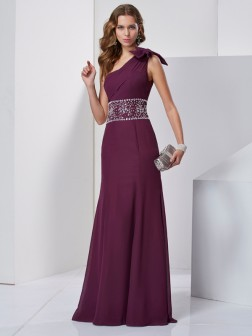 A-Line/Princess One-Shoulder Sleeveless Beading Floor-Length Chiffon Dresses
