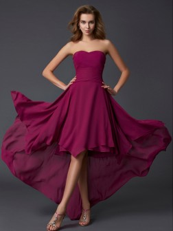 A-Line/Princess Sweetheart Sleeveless Pleats Asymmetrical Chiffon Dresses