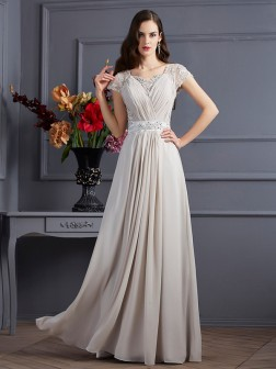 A-Line/Princess Sweetheart Short Sleeves Beading Floor-Length Chiffon Dresses