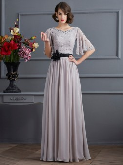 A-Line/Princess High Neck 1/2 Sleeves Beading Floor-Length Chiffon Dresses
