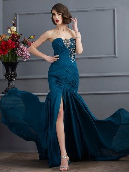 Trumpet/Mermaid Strapless Sleeveless Beading Applique Sweep/Brush Train Chiffon Dresses