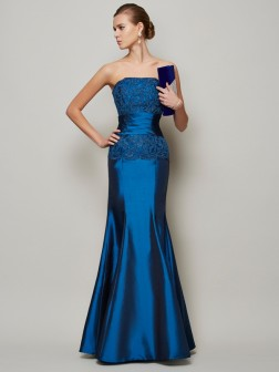 Trumpet/Mermaid Strapless Sleeveless Applique Beading Floor-Length Taffeta Dresses