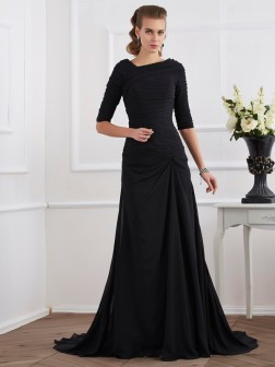 A-Line/Princess 1/2 Sleeves Pleats Sweep/Brush Train Chiffon Dresses