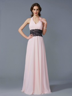 A-Line/Princess Halter Sleeveless Applique Floor-Length Chiffon Dresses