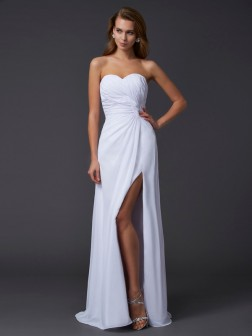 Sheath/Column Sweetheart Sleeveless Pleats Floor-Length Chiffon Dresses