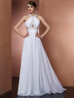 A-Line/Princess Bateau Sleeveless Beading Sweep/Brush Train Chiffon Dresses
