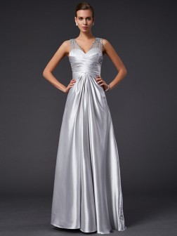 A-Line/Princess V-neck Sleeveless Beading Floor-Length Elastic Woven Satin Dresses