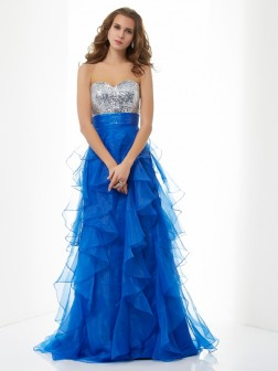 A-Line/Princess Sweetheart Sleeveless Paillette Floor-Length Satin Dresses