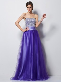 A-Line/Princess Sweetheart Sleeveless Beading Floor-Length Net Dresses