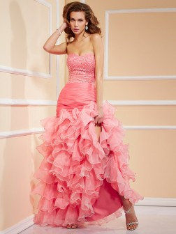 Trumpet/Mermaid Sweetheart Sleeveless Ruffles Asymmetrical Organza Dresses