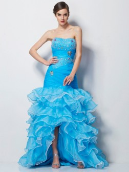 Trumpet/Mermaid Sweetheart Sleeveless Beading Asymmetrical Tulle Dresses