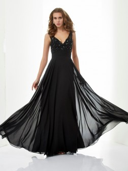 A-Line/Princess V-neck Sleeveless Beading Applique Floor-Length Chiffon Dresses