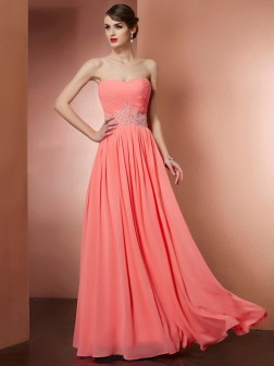 A-Line/Princess Strapless Sleeveless Pleats Beading Floor-Length Chiffon Dresses